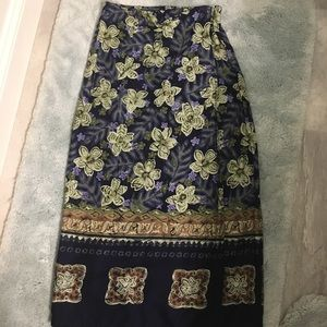 Floral Tropical Long Skirt Petite Small